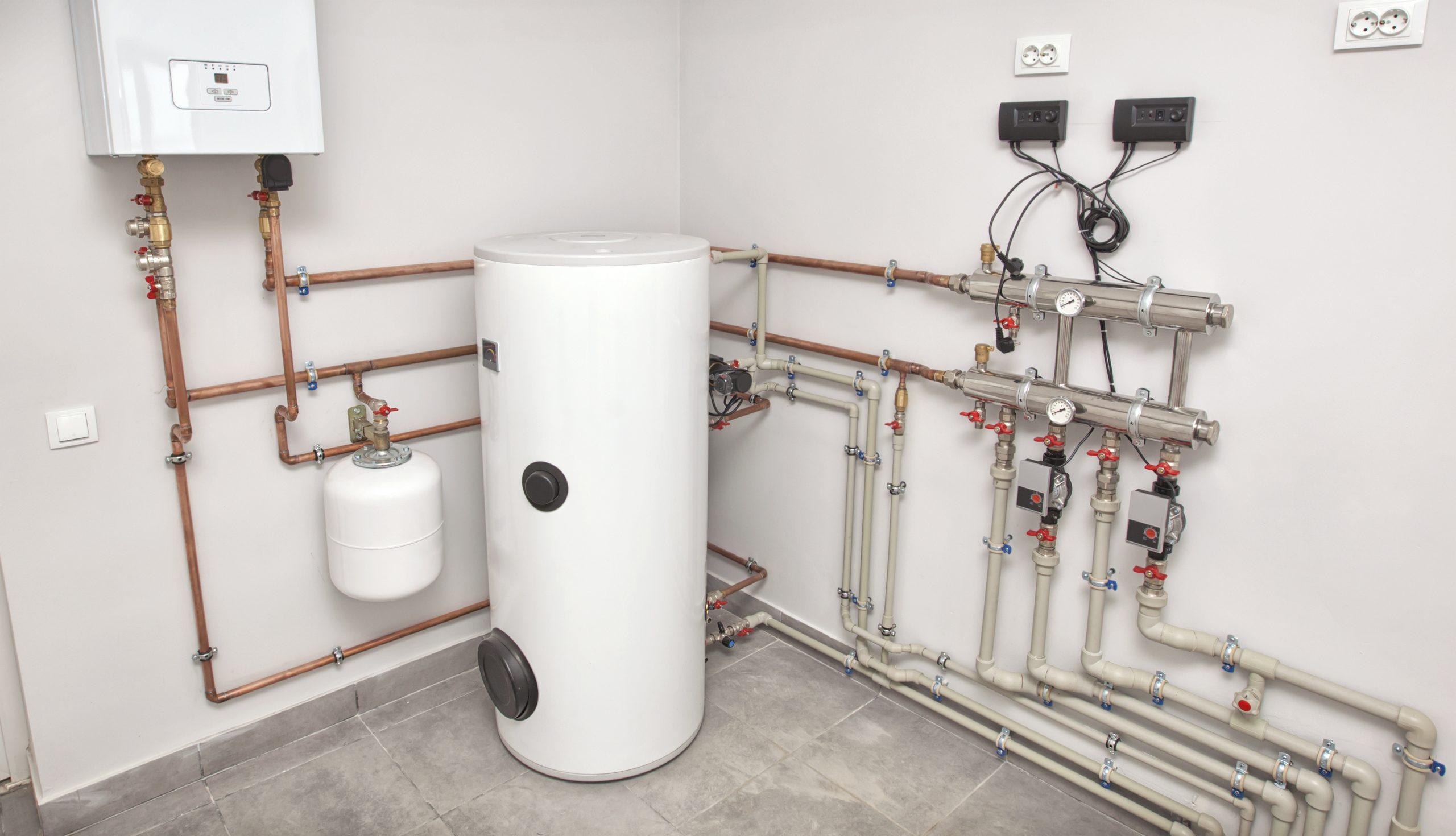 Gas Boiller with water tank and pipes